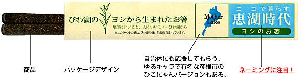 商品「びわ湖のヨシから生まれたお箸(恵湖時代)」