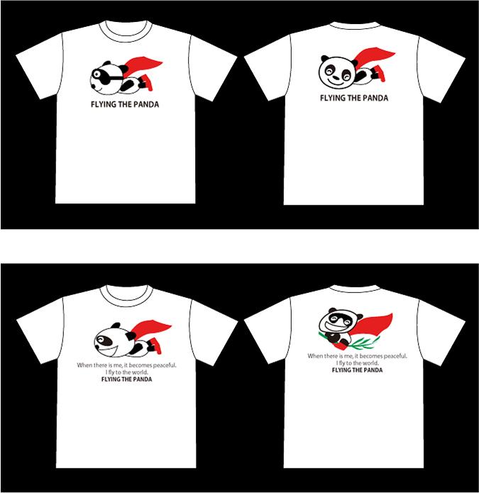 キャラクターのオリジナル・Tシャツ《空を飛ぶパンダ》